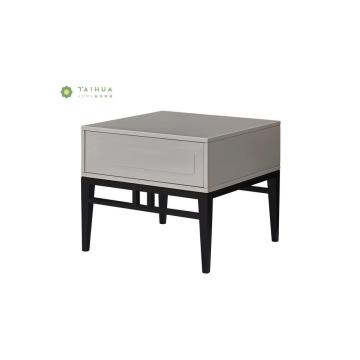 Black Solid Wood Night Stand with White Drawer