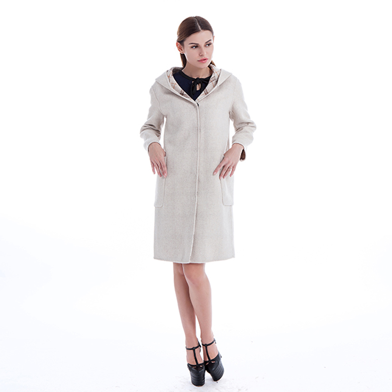 Winter  Cashmere Hooded Coat for