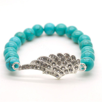 Turquoise 8MM Round Beads Stretch Gemstone Bracelet with Diamante alloy big wing Piece
