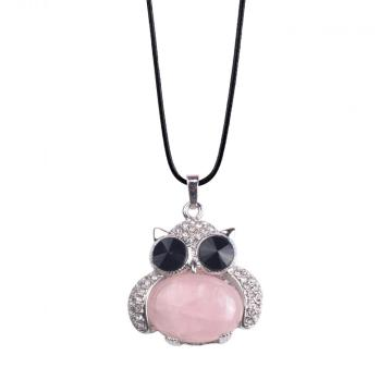 Sincere Silver Jewelry Rose Quartz Stone Owl Alloy Pendant Necklace for Women Accessories
