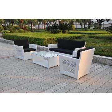 4pcs aluminm base PE rattan weaving stylish sofa