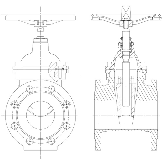Non Rising Stem Wedge Gate Valve