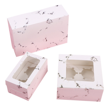 White marble pattern cupcake box and insert