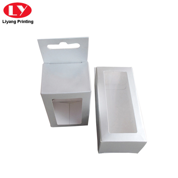 White paper hanging box with die-cut window