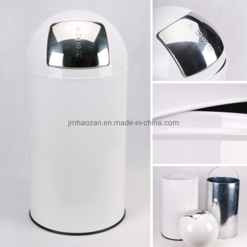 Push-Type Stainless Steel Dust Bin
