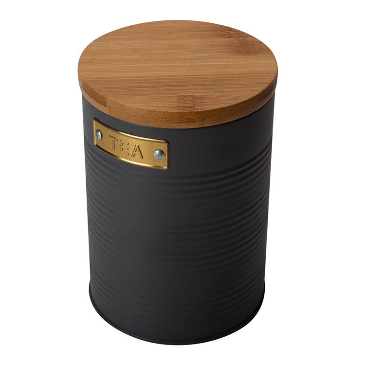 Metal round canister with bamboo lid