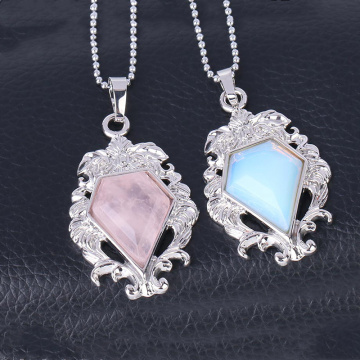 Silver Alloy Natural  Faceted Diamond Gemstone  Mirror Pendant
