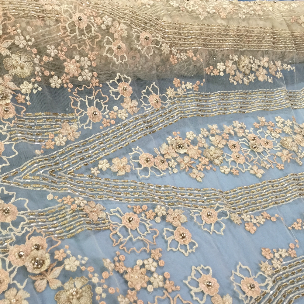 3d Heavy Beaded Lace Fabric