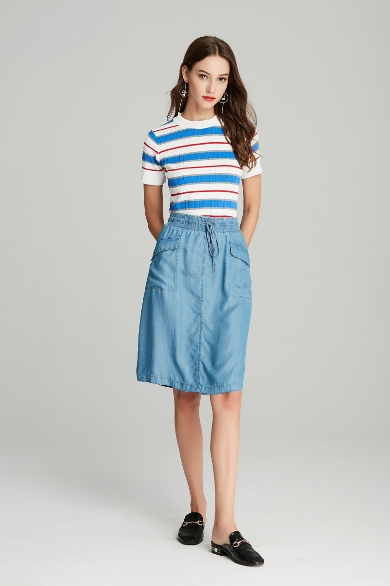patch pockets ladies skirt