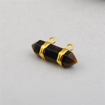 Charm&Fashion Tiger Eye Stone Hexagonal Pendant with 18K Gold Plated