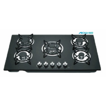 Tempered Glass Top 5 Burners Built-in Gas Stove