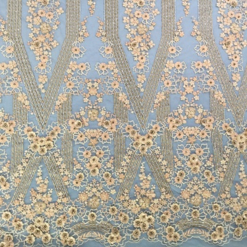 3D Net Embroidery Handwork Beaded Fabric