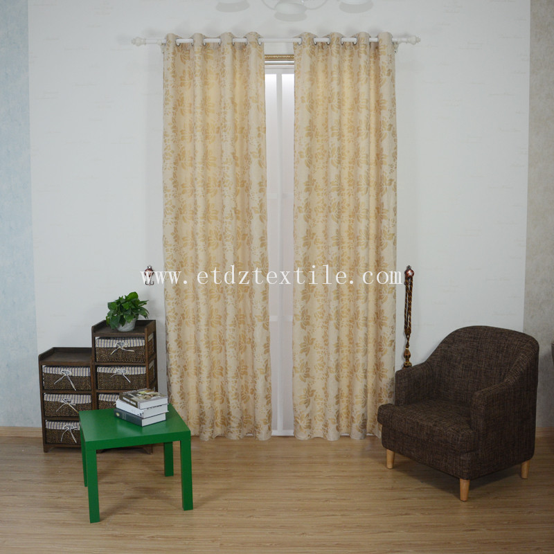 High Quality Hot Sell Jacquard Linen Touching Window Curtain XS2009 Golden