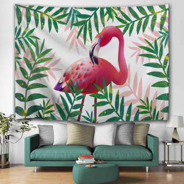 Pink Flamingo Tapestry Palm Leaf Wall Hanging Green Plants Tapestry for Livingroom Bedroom Home Dorm Decor