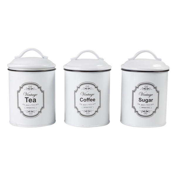 Vintage white houseware canister set of 3