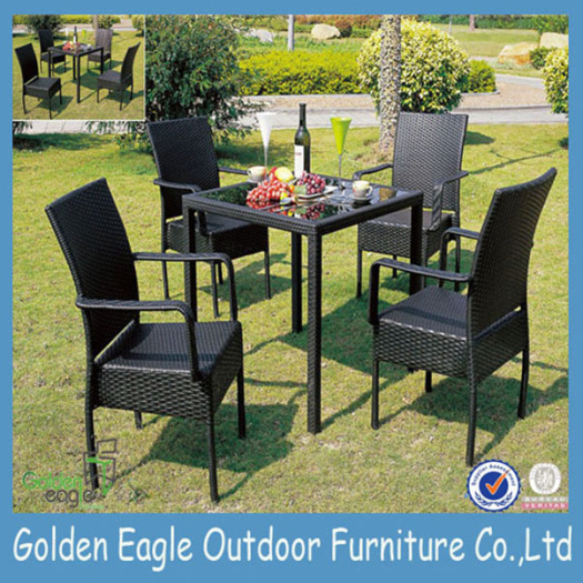 Wicker Furniture Glass Conversation Dining Set
