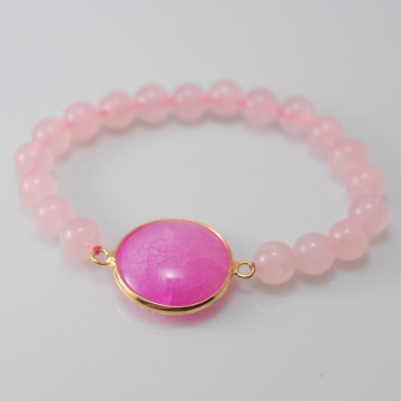 Rose Quartz Bracelet with Agate Pendant Gemstone jewelry