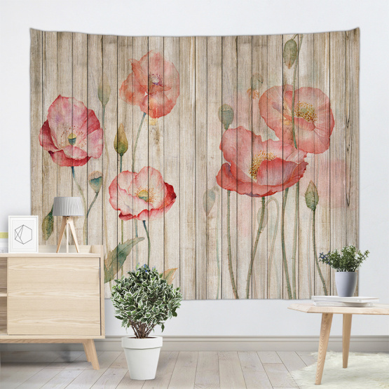 Vintage Planks with Red Flower Tapestry Wall Hanging Vertical Striped Wooden Board Wall Tapestry for Livingroom Bedroom Dorm Hom
