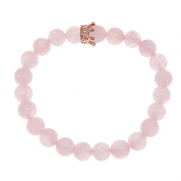 8MM Round Beads Rose Quartz Crown Stone Bracelet For Fashion