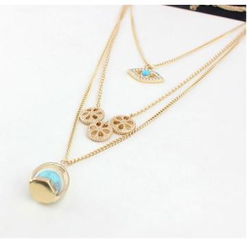 Personalized Three Layer Eye Necklace Turquoise Pendant