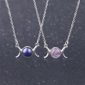 Natural Gemstone  Crescent Moon Solar Stone Pendant Necklace
