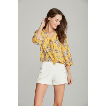 woven fashion ladies V neck printed floral blouse
