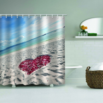 Sea Beach with Rose Love Heart Waterproof Shower Curtain Ocean Romantic Bathroom Decor