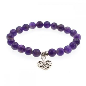 Natural Chakra Gemstone 8MM Round Beads Charms Bracelet