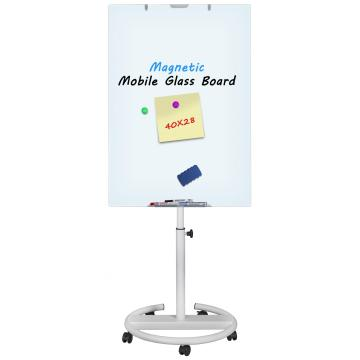 Magnetic Adjustable in height Mobile Glass Flipchart Easel