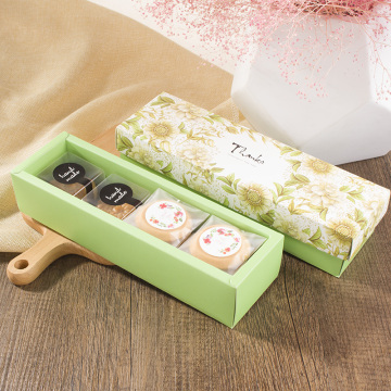 Green cookie gift boxes with bag