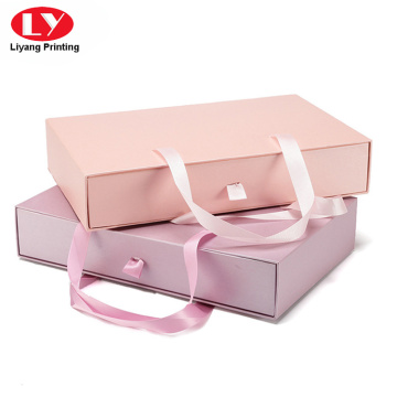 Pink Brassiere (Bra)drawer gift packaging box with handle