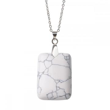 Natural Howlite Women Chakra Rectangle Gemstone Pendant Necklace with 45cm silver chain