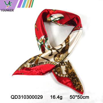 RED CHAIN SATIN SCARF