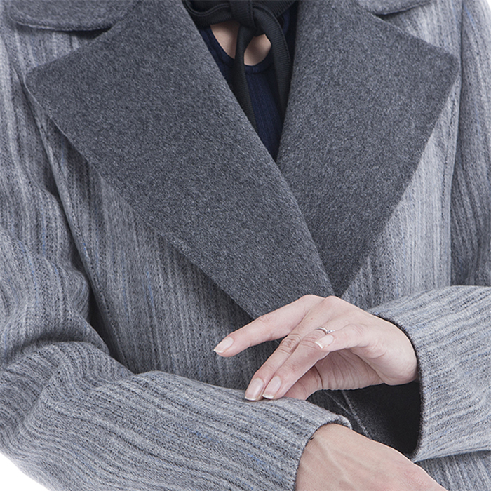 Sleeves of Fashionable Gray Cashmere Winter Clothes