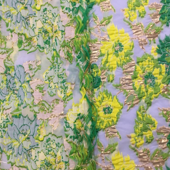 Green Floral Jacquard Neopaque Fabric