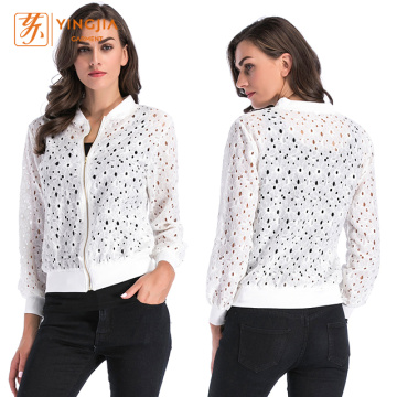 Women Thin Zipper Long-Sleeve Hollow Out Lace Jacket