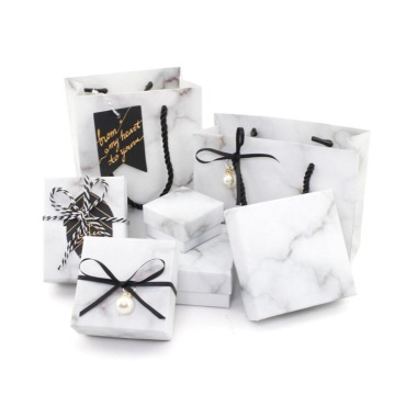 White marble pattern bulk cardboard jewelry set boxes