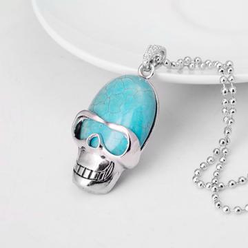 Turquoise Skull Gemstone Pendant Necklace with Silver chain