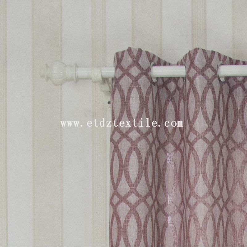 6008 Red Color 100% Polyester Linen Like Ready Made Curtains