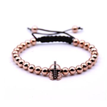 Black Knight Helmet Hollow Copper Bracelet With 6MM Round Beads