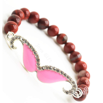 Red Jasper 8MM Round Beads Stretch Gemstone Bracelet with Diamante mustache Piece
