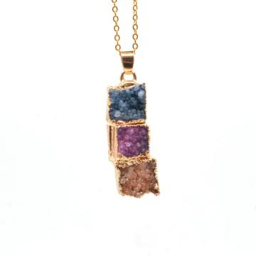 Fashion Jewelry Gilding Three Color Crystal Cluster Necklace with Gold Chain