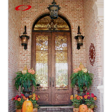 Aged Bronze Patina Wrought Exterior Iron Door