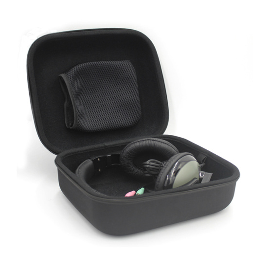 Hot sale black hard eva case custom large headphone case with logo