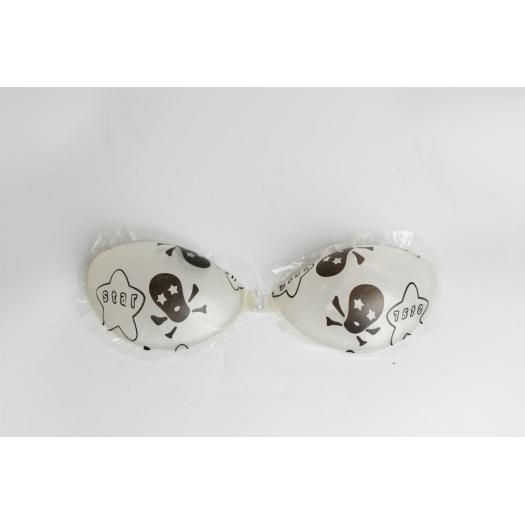 Flower printed invisible Push up silicone bra