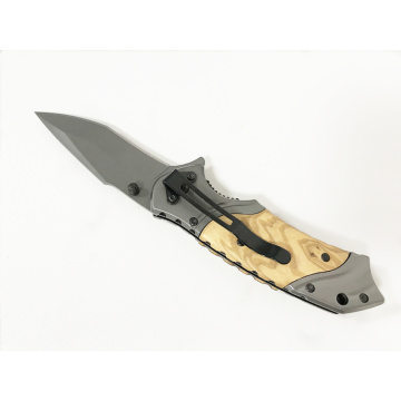 Assisted Open Spring Loaded Wood Pocket Knife