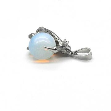 925 Sterling Silver Opalite 15MM Sphere Dragon Ball Claw Pendant Jewelry