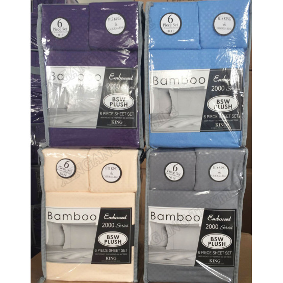 Bamboo 6 Piece Sheet Sets Embossed Microfiber