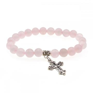 Natural Rose Quartz Chakra Gemstone 8MM Round Beads Charms Bracelet with Cross Alloy