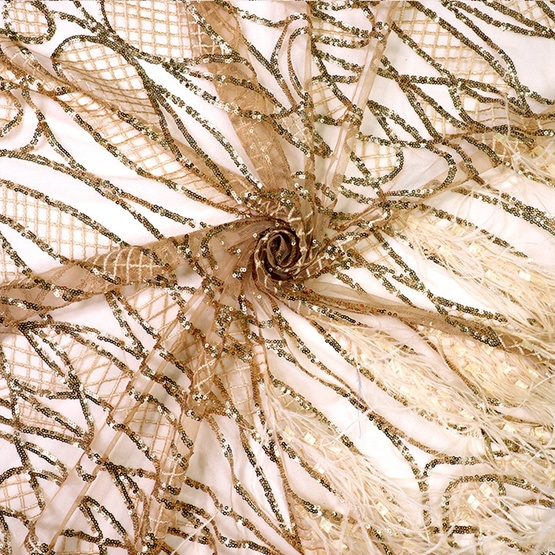 Gold Sequin Lace Fabric with Handmade Feather